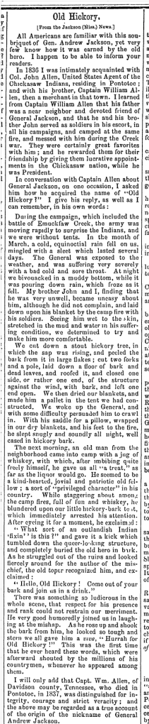 Old Hickory Newspaper Account